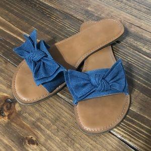 Denim bow sandals